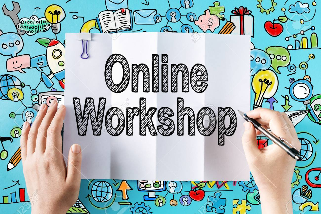 75506323 online workshop text with hands and colorful illustrations